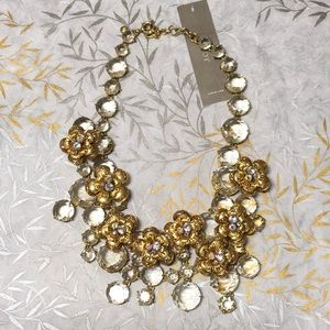 J.Crew NWT Gold and Crystal Floral Necklace